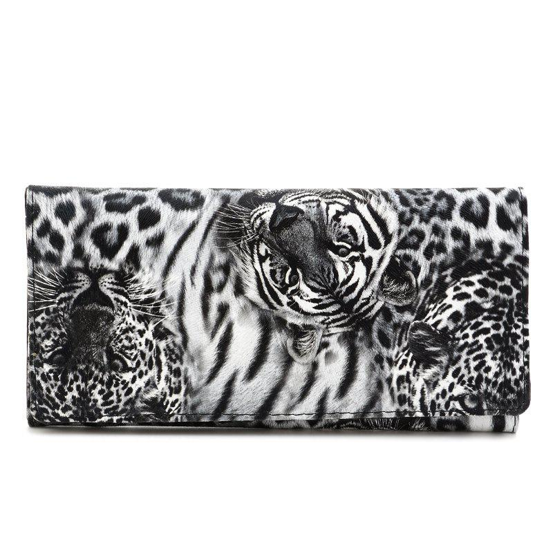 Snap Closure Color Block Leopard Print WalletBags<br><br><br>Color: BLACK