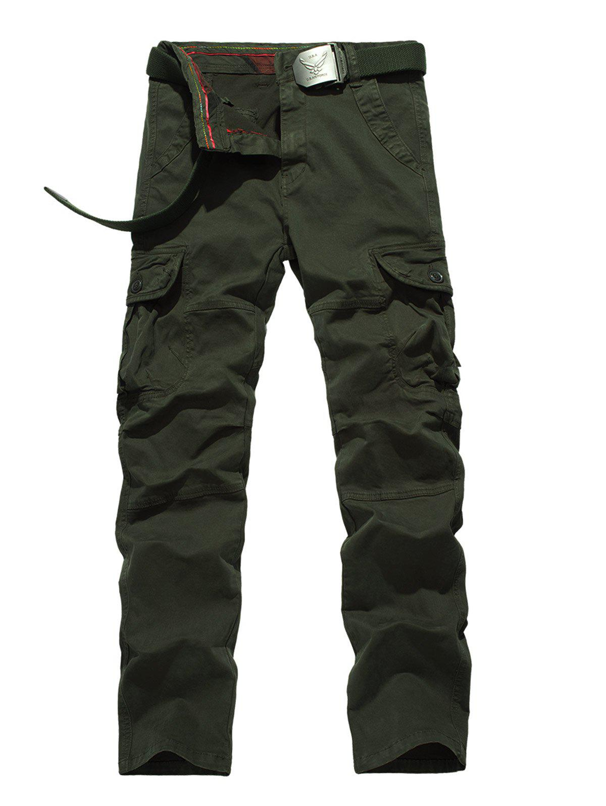 Zipper Fly Straight Leg Plus Size Pockets Embellished Cargo PantsMen<br><br><br>Size: 40<br>Color: ARMY GREEN