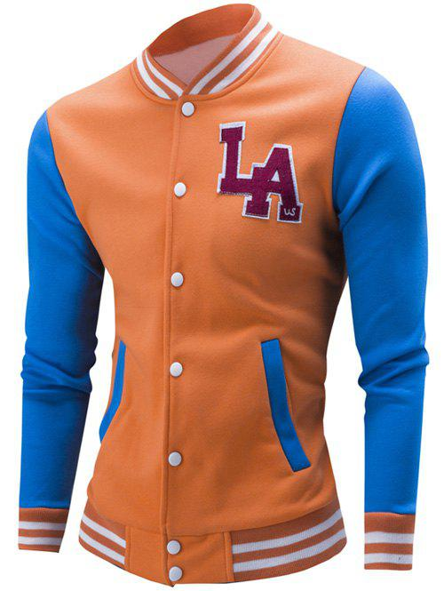 Rib Spliced Color Block Letter Pattern Baseball Jacket 193358708