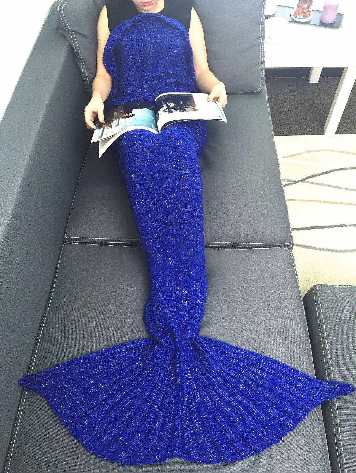 Comfortable Acrylic Knitting Mermaid Tail Sofa Blanket lacy knitting comfortable checkered hollowed blanket for kids