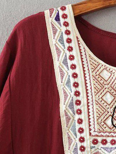 Tribal Embroidered Tasseled Flounced Blouse - WINE RED 5XL