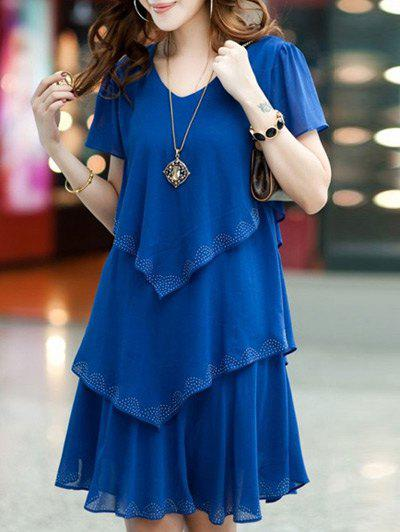 Chic Short Sleeve Pure Color Scoop Neck Dress
