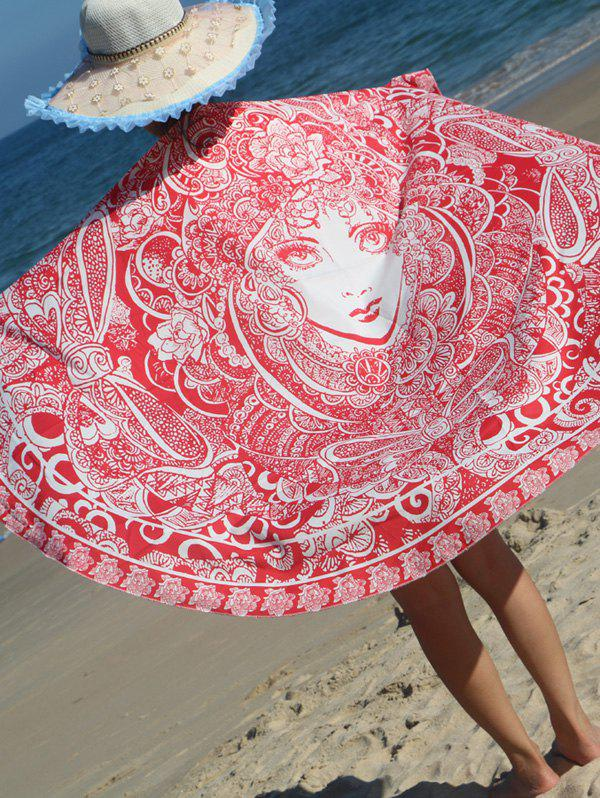 Round Shape Floral Girl Print Beach Throw - RED ONE SIZE