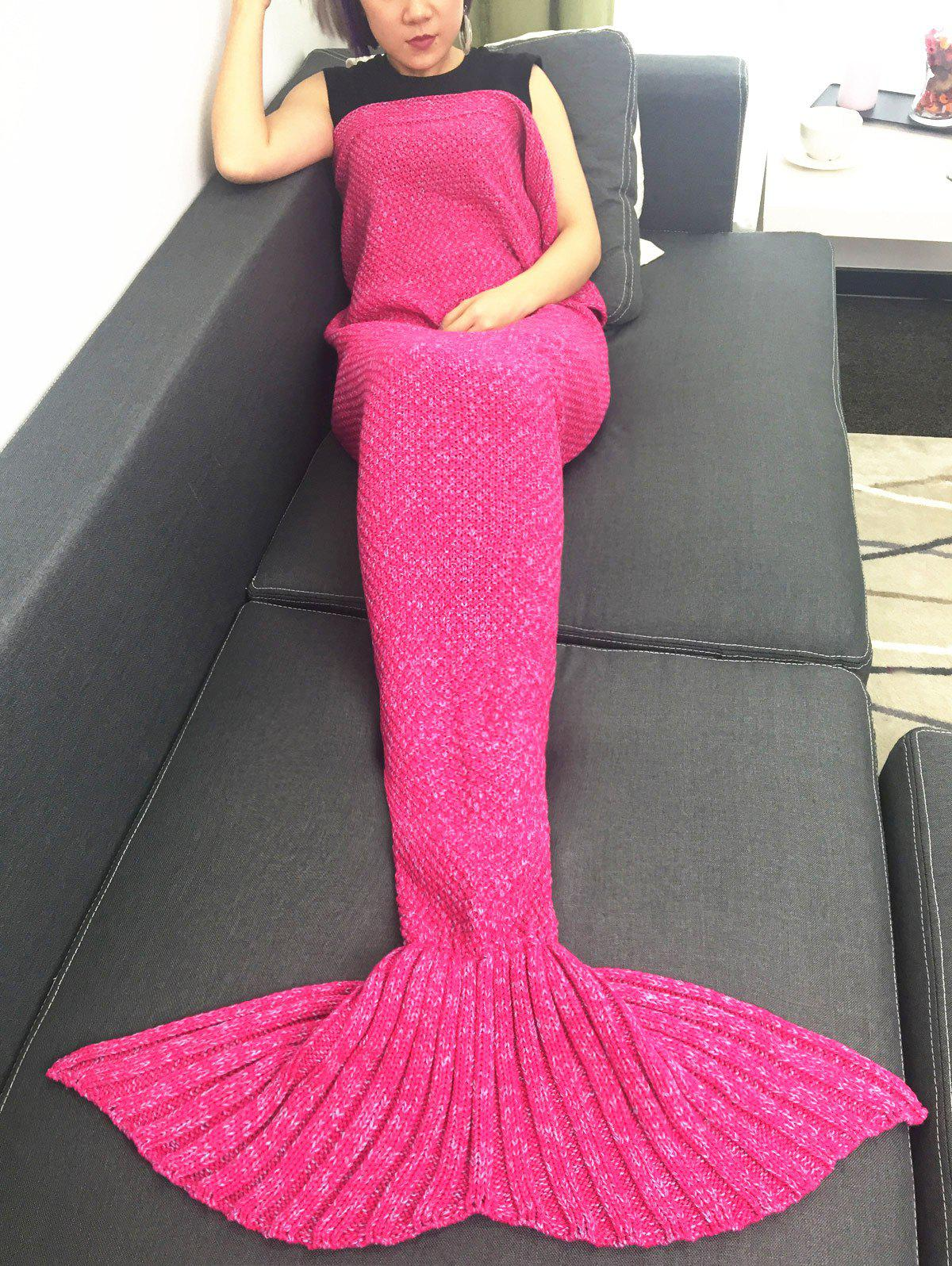 High Quality Crochet Knitted Mermaid Tail BlanketHome<br><br><br>Size: W31.50INCH*L70.70INCH<br>Color: ROSE RED