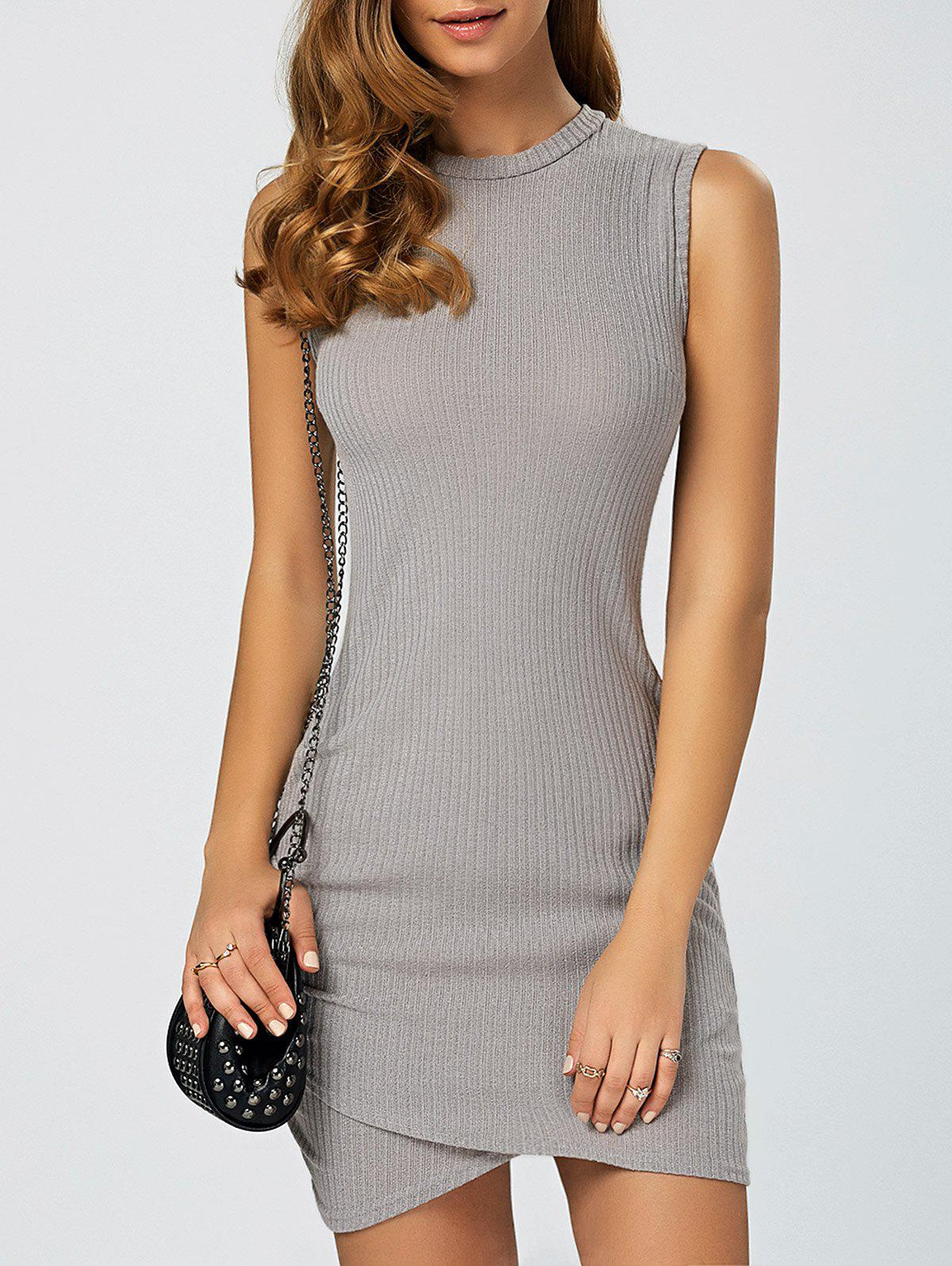 Asymmetric Knitted Sleeveless Jumper Bandage Dress - GRAY S