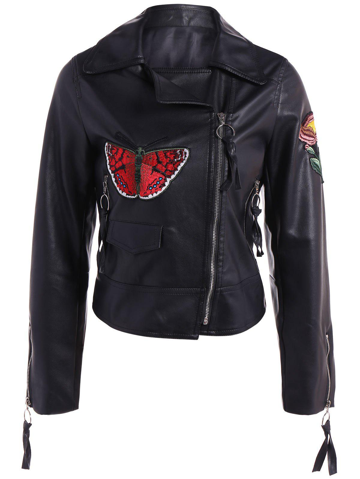 Embroidered Zippers PU Leather Jacket - BLACK S