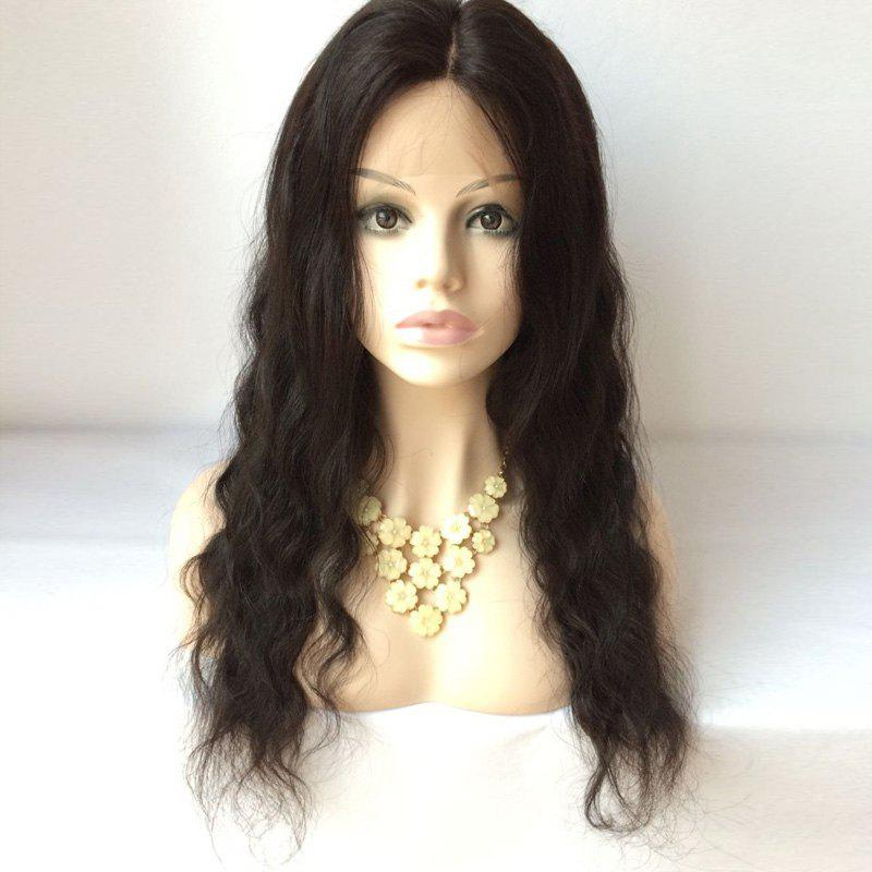 Long Middle Parting Lace Front Body Wave Human Hair Wig - BLACK