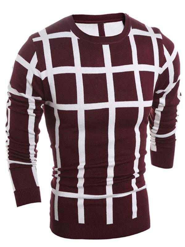Ras du cou Slim Fit Plaid Sweater - Rouge vineux M