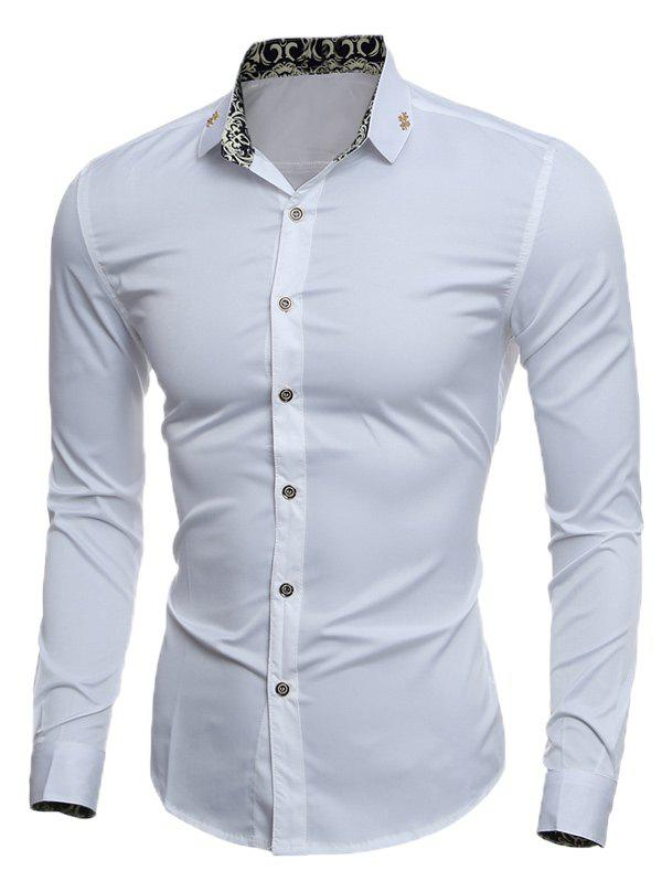 Slim Metal Embellished Long Sleeve Shirt - WHITE M