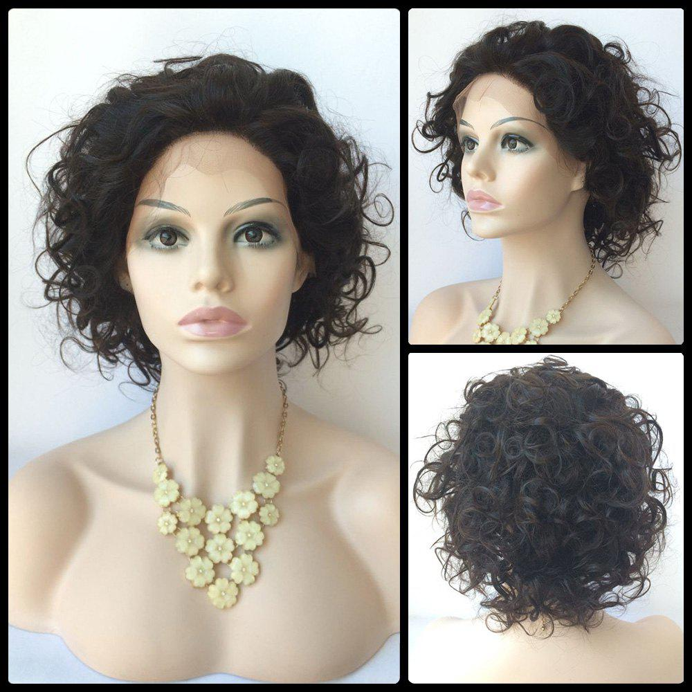 Wave Short Lace Front Human Hair WigHair<br><br><br>Color: BLACK