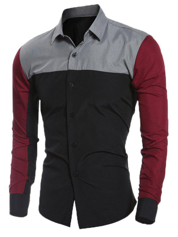 Slim Long Sleeve Splicing Shirt - BLACK M