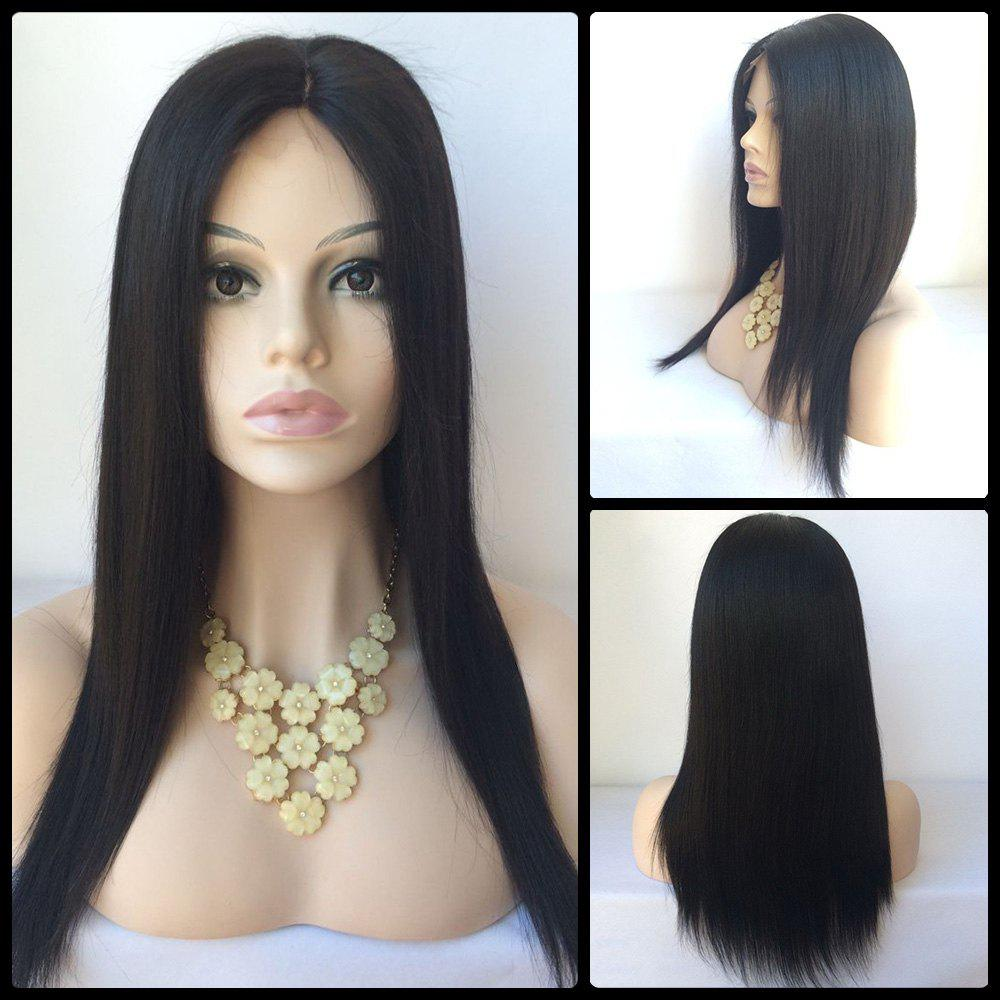 Middle Parting Long Straight Lace Front Human Hair Wig - BLACK
