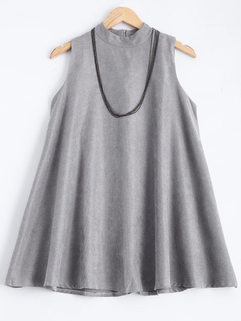 High Neck Sleeveless A Line Dress - GRAY ONE SIZE