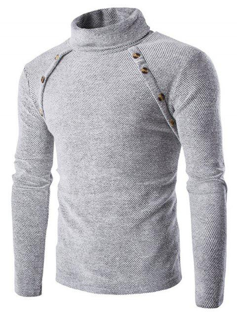 Button Design Long Sleeves Turtleneck Sweater - GRAY M