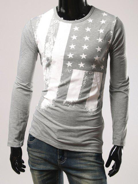 Long Sleeve Stars Pattern T-Shirt - GRAY M