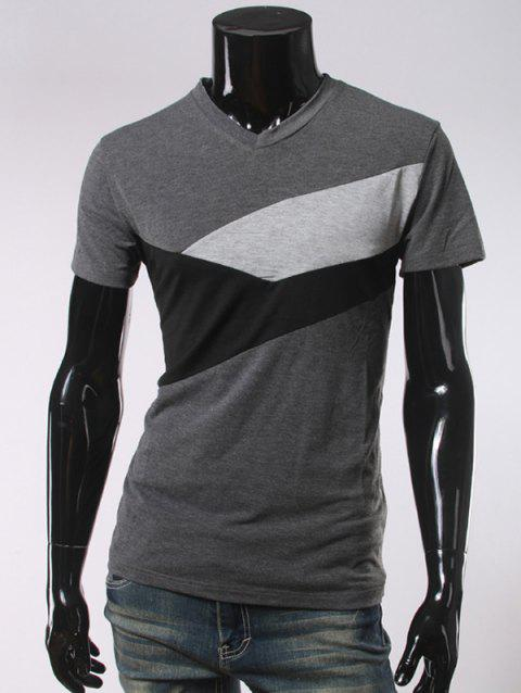 V Neck Short Sleeve Slimming T-Shirt - DEEP GRAY L