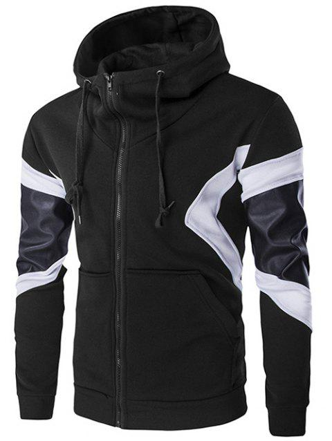 Front Pocket PU Leather Splicing Hoodie - BLACK XL