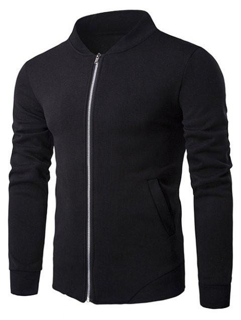 Personality Hem Rib Splicing Zip-Up Jacket - BLACK 2XL