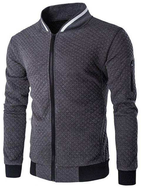 Rib Splicing Argyle Knurling Stand Collar Jacket - GRAY M
