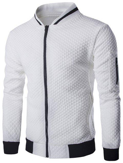 Rib Splicing Argyle Knurling Stand Collar Jacket - WHITE XL