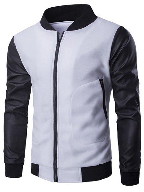 Zipper Pocket PU Leather Splicing Jacket - WHITE 2XL