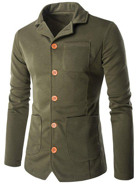 Single-breasted poches design Turn-Bas Collar Jacket - Vert Armée M