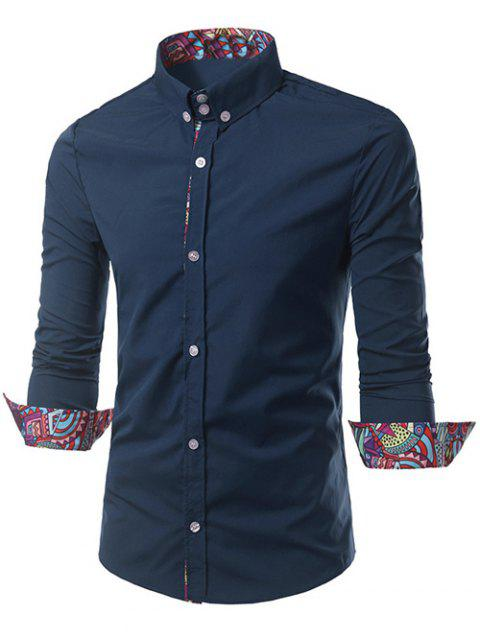 Ethnic Style Pattern Splicing Turn-Down Collar Button-Down Shirt - PURPLISH BLUE 2XL