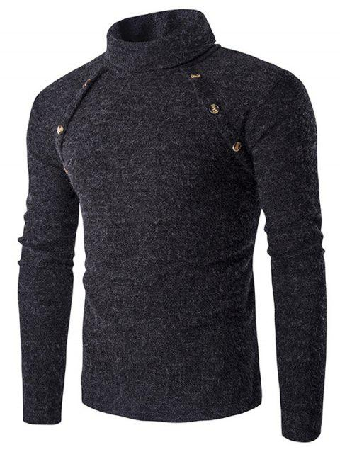 Button Design Long Sleeves Turtleneck Sweater - DEEP GRAY M