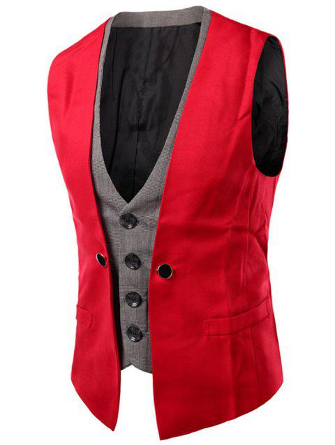 Buckled Plaid Insert Single Breasted Waistcoat - RED M