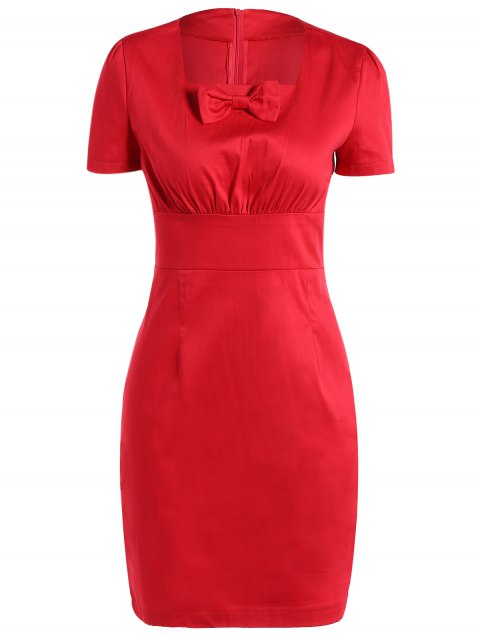 Vintage Square Neck Bowknot Draped Pin Up Dress - RED XL