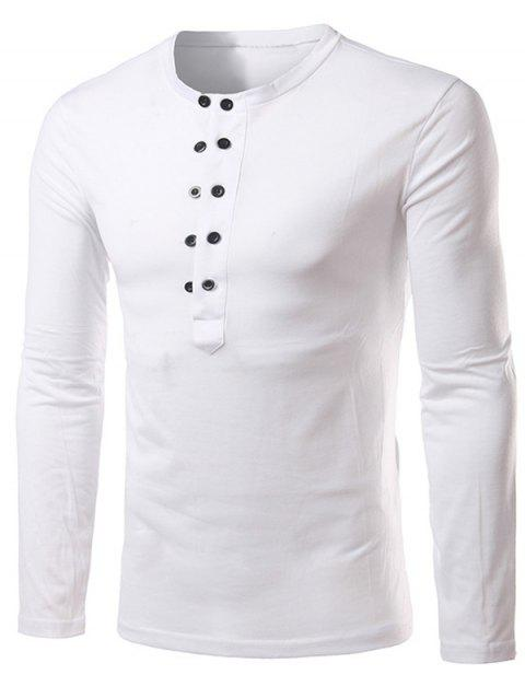 Button Up Long Sleeve Henley Shirt - Blanc XL