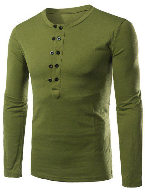 Button Up Long Sleeve Henley Shirt - GREEN M