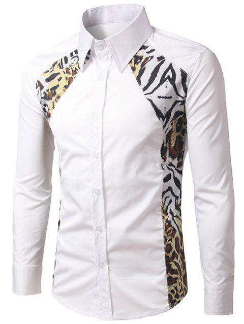 Leopard Print Splicing Long Sleeve Shirt - WHITE M