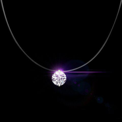 Round Rhinestone Solitaire Necklace - SILVER WHITE
