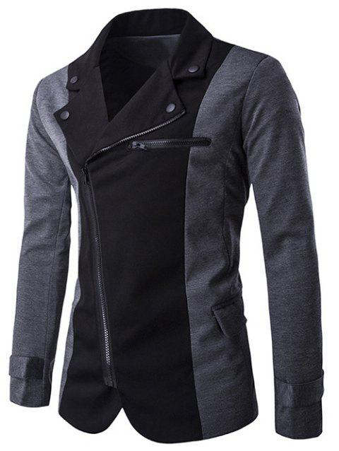 Couleur Splicing Inclined Zipper Fly Jacket Irregular - Gris XL