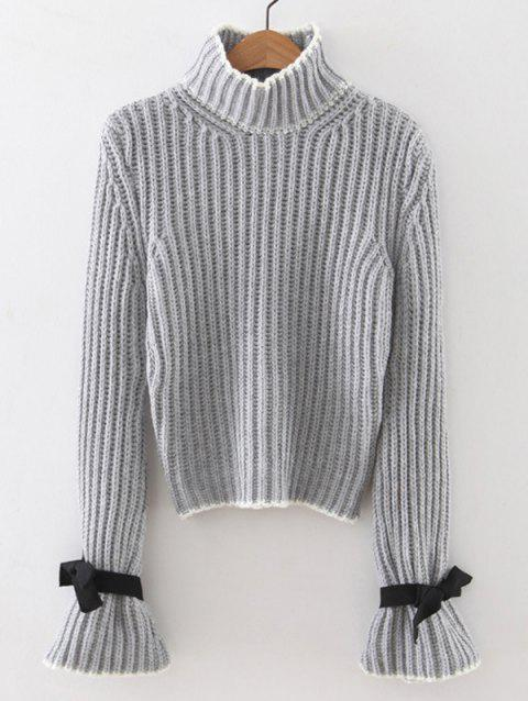 Col haut Flare Sleeve Pull - Gris ONE SIZE