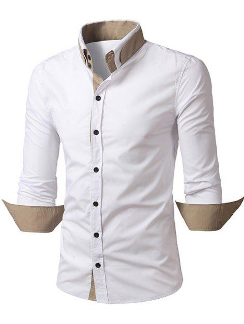 Back Pleat Convertible Collar Long Sleeve Shirt - WHITE 2XL