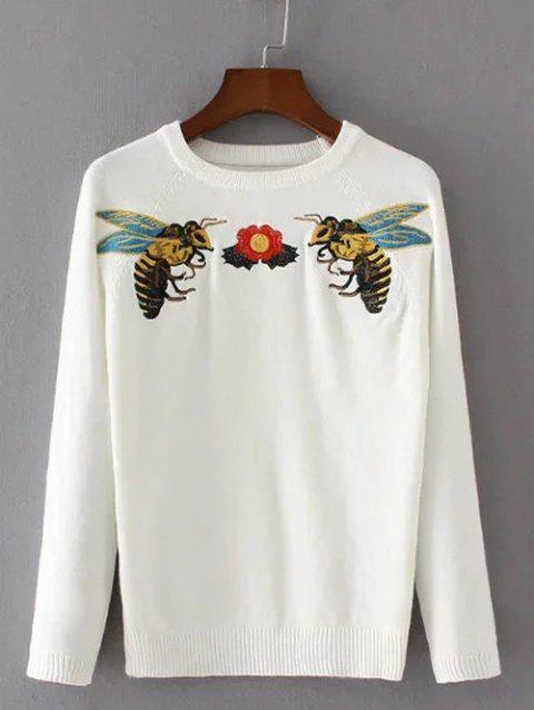 Bee Broderie col rond Pull - Blanc ONE SIZE
