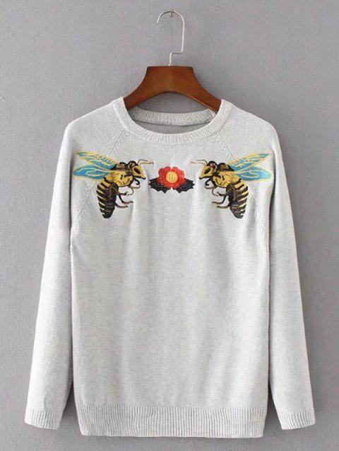 Bee Broderie col rond Pull - Gris ONE SIZE