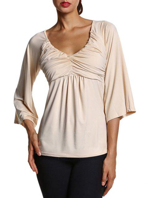 Bell Sleeve Slim  Fit Ruched Blouse - LIGHT APRICOT S