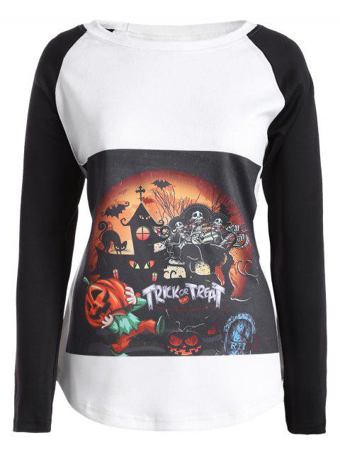 T-shirt Halloween Manches Raglan et Imprimé Tribal - Blanc 2XL