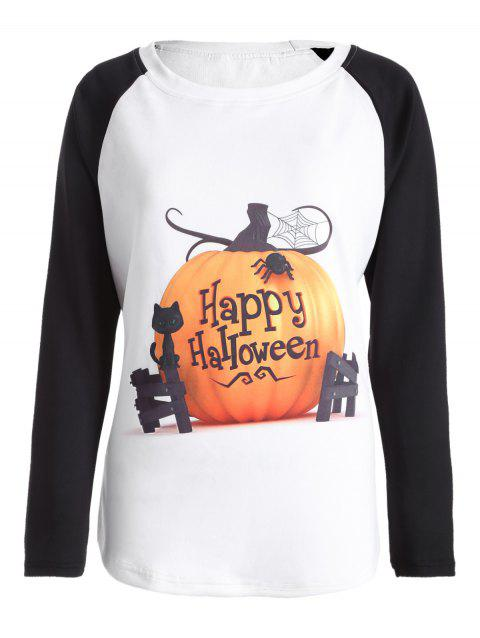 Raglan manches Happy Halloween T-shirt - Blanc XL