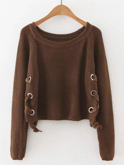 Late Fall Circle Hoop Lace-Up Sweater - COFFEE M