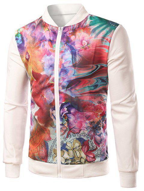 Colorful Floral Print Splicing Zip-Up Jacket - WHITE M