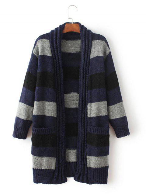 Striped Ouvert Cardigan - Cadetblue ONE SIZE