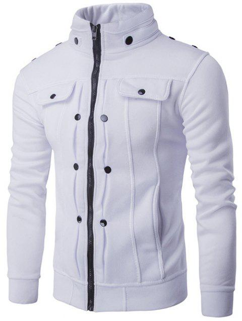 Buttoned Pleated Stand Collar Zip Up Jacket - WHITE 2XL