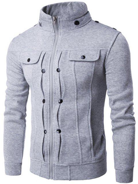 Buttoned Pleated Stand Collar Zip Up Jacket - LIGHT GRAY M