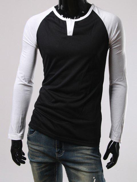Color Block Slimming Raglan Sleeve T-Shirt - BLACK 2XL