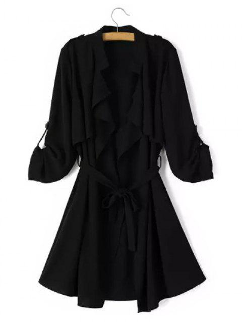 Tie Belt Epaulet Overlay Wrap Trench Coat - BLACK L