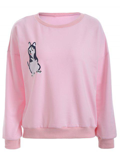 Puppy Print Loose-Fitting Sweatshirt - PINK XL